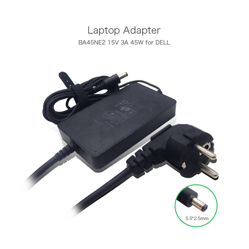 New Genuine BA45NE2 PA-1 Family T464N Laptop Power Supplies for Dell Adamo XPS/ XPS 13 Black AC Adapter 15V 3A 45W EU Plug