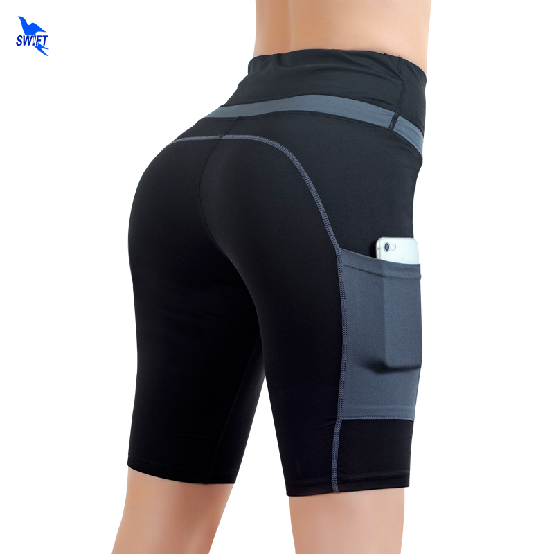 Women Knee Length High Waist Yoga Shorts With Pockets Athletic Gym Fitness Sport Jogging Tights Running Jogging Cycling Shorts