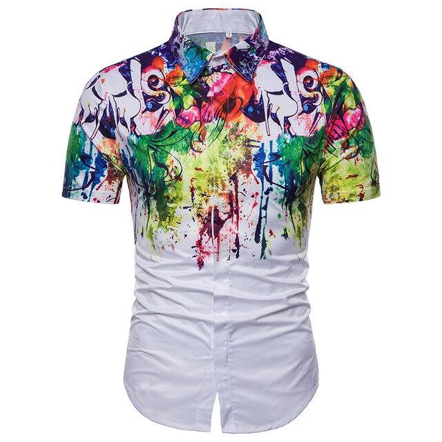 49180dbd90b 2018 Mens 3D Print Short Sleeve Shirt New Fashion Shoulder Color Ink Shirt  Male Dress Brand Clothes Graffiti Style Men Shirt