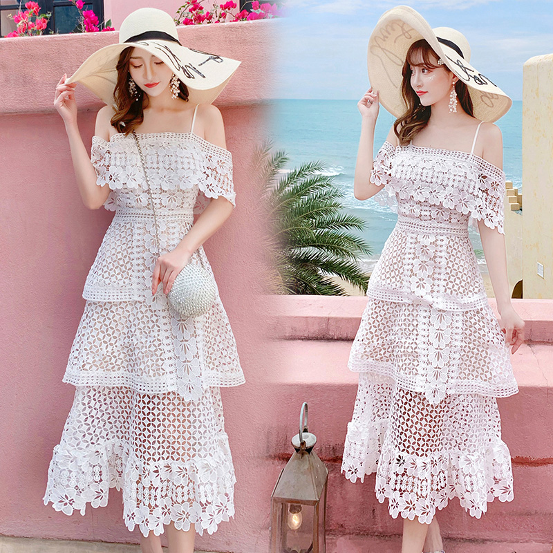 19 New Summer Women Cascading Ruffle Lace Cake Beach Dress Female Casual Sweet Embroidery Hollow Out Chic Party Midi Dresses 2