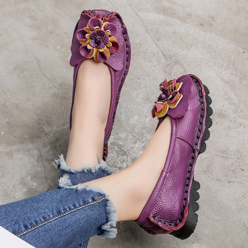 Casual Shoes Loafers Women Spring Moccasins Ladies Comfortable Genuine-Leather New Retro