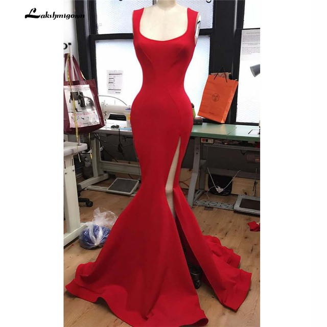 Red Mermaid Bridesmaid Dresses Long tank Vestido Longo Side Split Elastic Satin Formal Red Party Dress