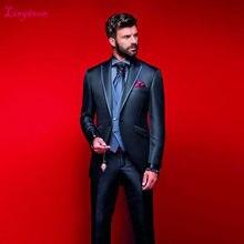 db61119de018 Linyixun Groom Tuxedos Groomsmen One Button Red Shawl Lapel Best Man Suit  Wedding Men's Blazer Suits Custom Made