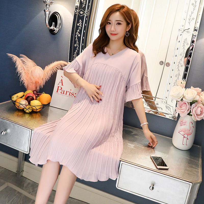 Pleated Chiffon Pregnancy Dresses For Pregnant Women Maternity Clothes Summer Loose Short Sleeve Dress Maternity Vestidos