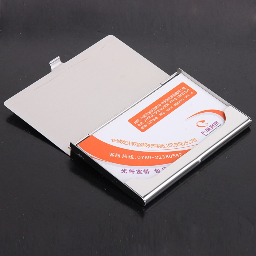 Wholesale 10pcslot factory sale stainless steel name card case wholesale 10pcslot factory sale stainless steel name card casemirror cover business card holder print laser logo nms005 in card id holders from luggage magicingreecefo Image collections