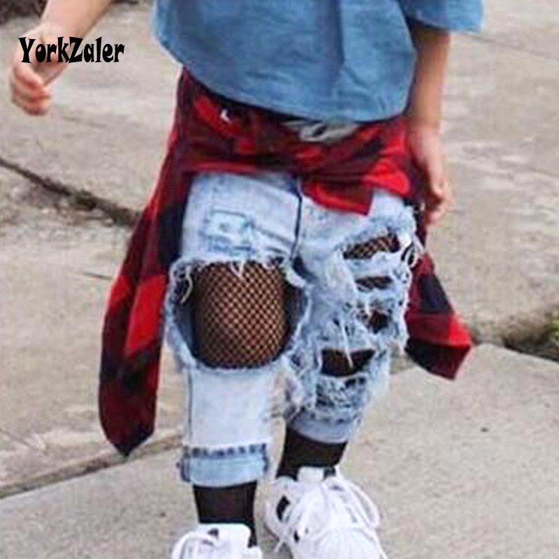Summer Jeans For Girls Kids Jeans Female Ripped Pants Girls Infants Holes Long Trousers For Baby Girls Fashion Denim Pants New