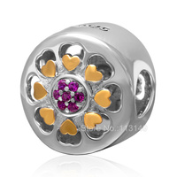 Fuchsia Zircon Pave Hollow Ball 925 Sterling Silver European Charm Beads Jewelry Accessory SGPB4105