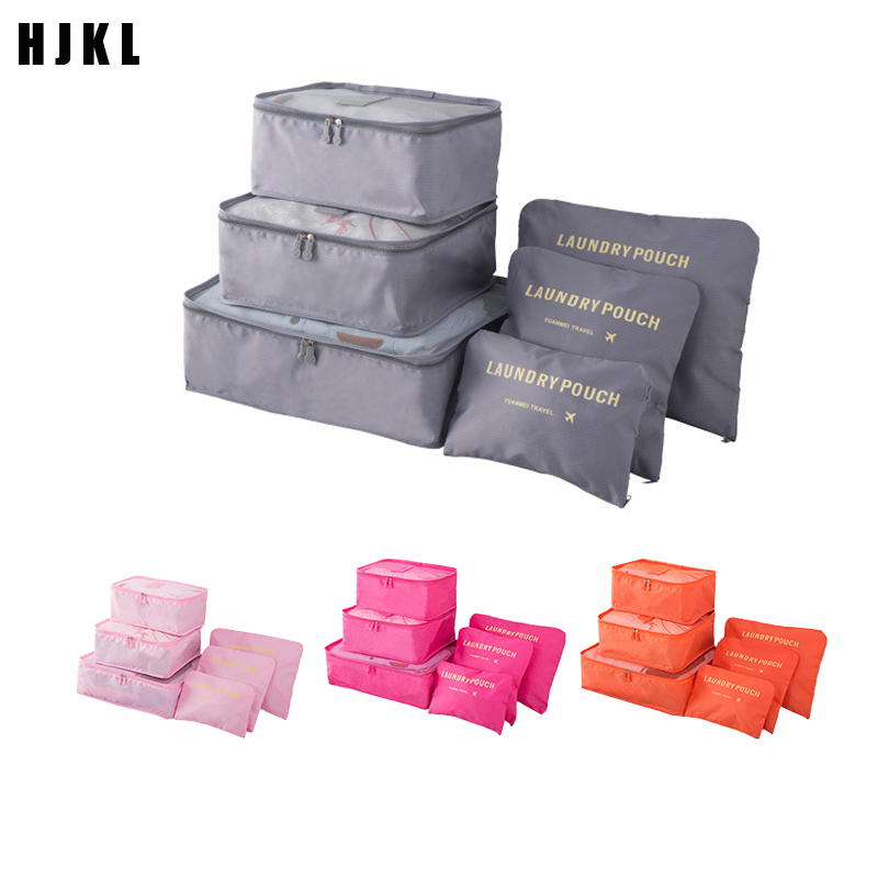 HJKL High Quality 6PCS/Set Oxford Cloth Travel Mesh Bag In Bag Luggage Organizer Packing Cube Organiser For Clothing