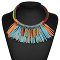 2017 nuevo bohemio étnico vintage beads choker collares de cuerda de la borla cadenas torques declaración joyería de fábrica