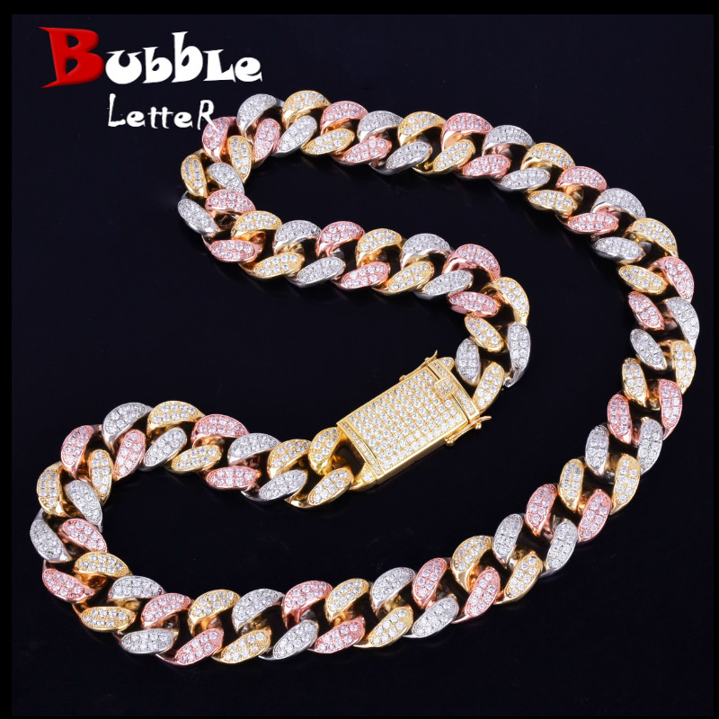 20mm Heavy Gold Silver Rose Colorful Zircon Miami Cuban Necklace Choker Men s Hip hop Jewelry