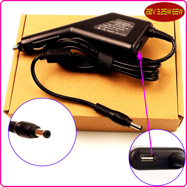 Laptop DC Power Car Adapter Charger 20V 3.25A + USB for Lenovo G360A G430 G450 G455 G460 G460A G475 G555 G560 G570 G580 K22