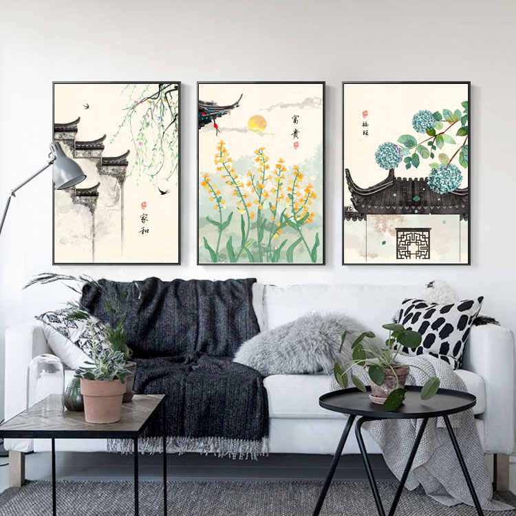 Ancient Modern Chinese Ink Flower Architecture Abstract Decorative Painting Picture Living Room Decoration No Frame