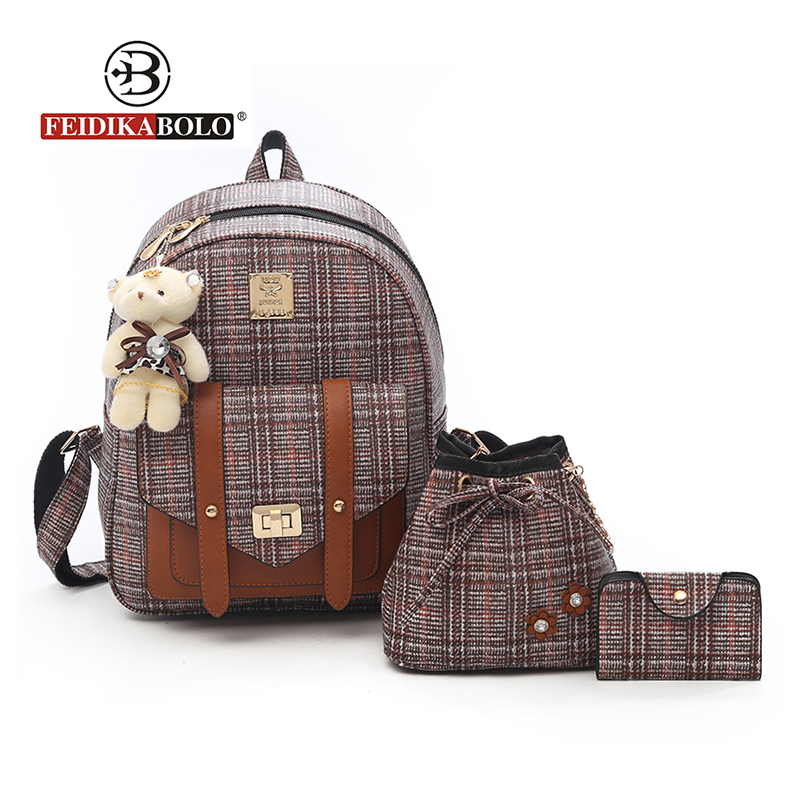3 Pcs Bear Backpack Women Bag Fashion Plaid School Bags For Girls Backpacks For Women 2018 New Style Shoulder Bags Sac A Dos 2016 new fashion women backpack girls leather school bag women casual style shoulder bags sweet color