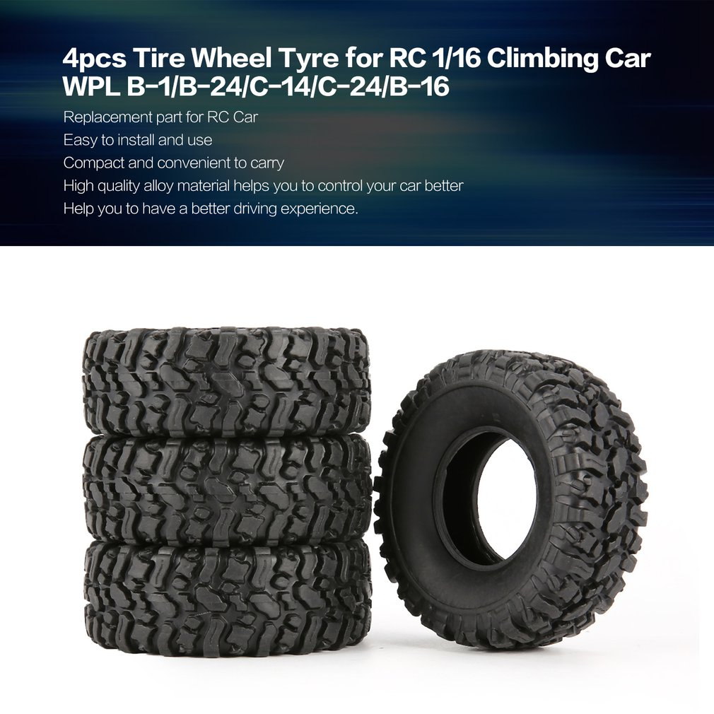 цены 4pcs Rubber Wheel Tire Tyre for RC 1/16 Climbing Crawler Car WPL B-1/B-24/C-14/C-24/B-16 Truck Part Spare Parts Accessories