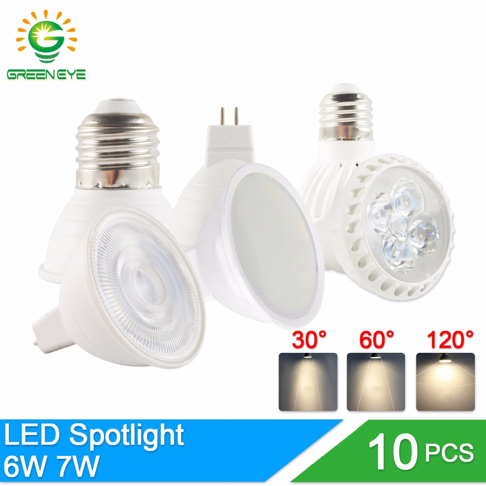 GreenEye 10Pcs/Lot LED Bulb Lampada 6W 7W 220V E27 E14 MR16 GU5.3 GU10 Bombillas dimmable LED Lamp Spotlight Lampara Spot Light new e27 gu10 rgb led bulb light bombillas 4w 16 color change mr16 e14 led lamp spotlight lampada with remote controller dimmable