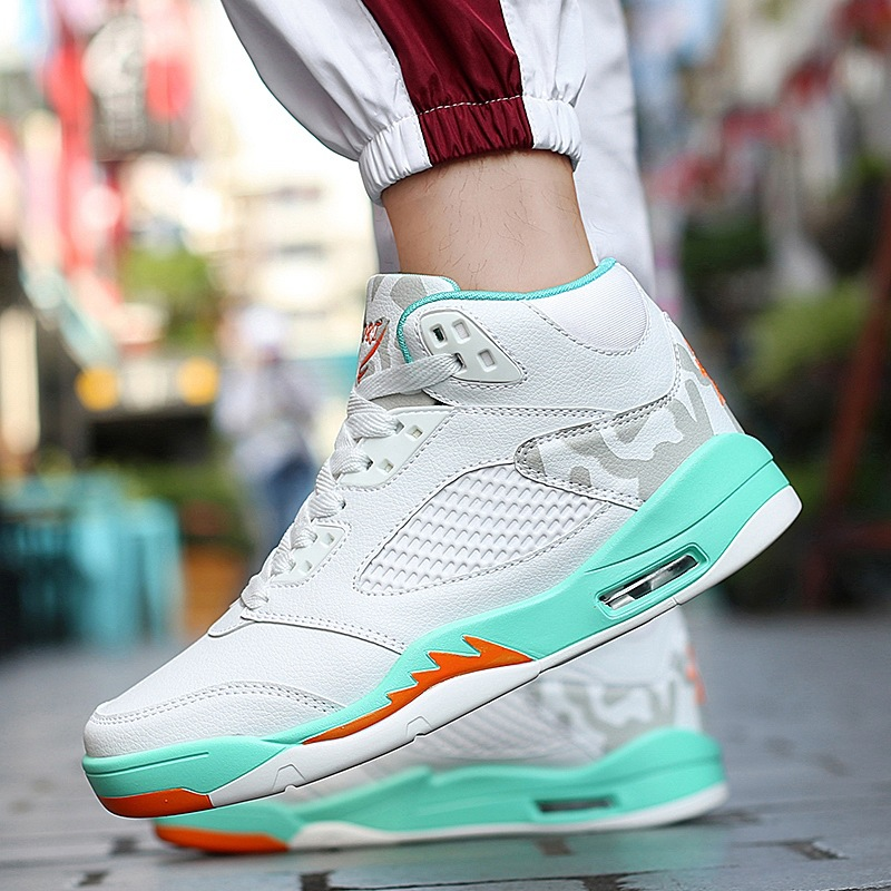 JINBEILEE Winter New High To Help AJ5 Basketball Shoes Breathable Casual Fashion Trend Hundred Tower Jogging Men's Shoes