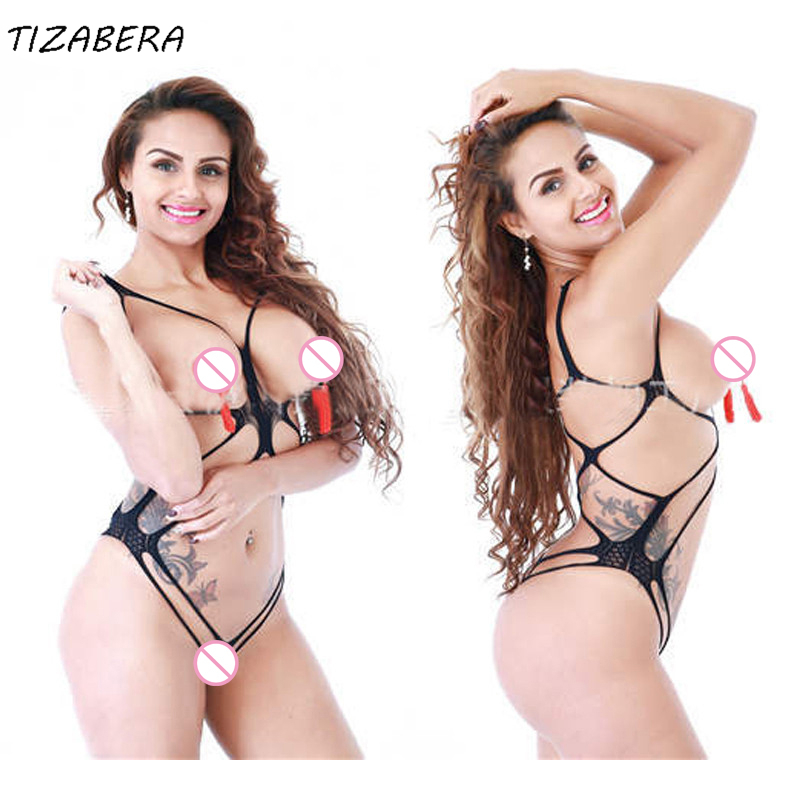 Fishnet Teddy Bodysuit Underwear Lingerie Open-Bra Crotch Body-Lenceria Coustumes Erotic