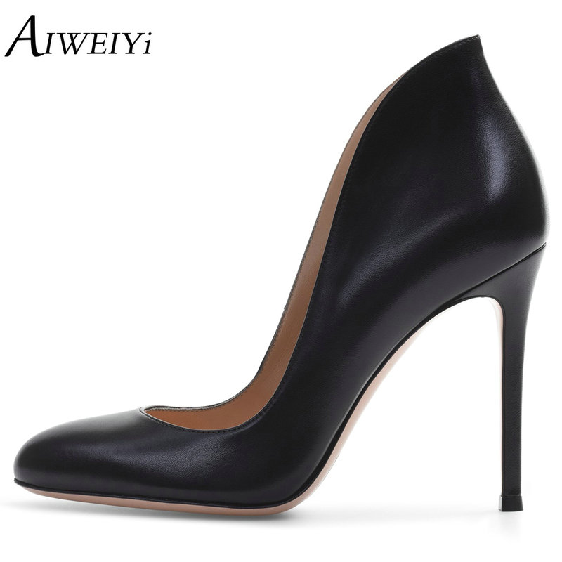 AIWEIYi Footwear Women Pumps Party Wedding Ladies Shoes Round Toe Black Sexy High Heels Shoes 12cm Stilettos High Heeled Shoes taoffen women high heels shoes women thin heeled pumps round toe shoes women platform weeding party sexy footwear size 34 39