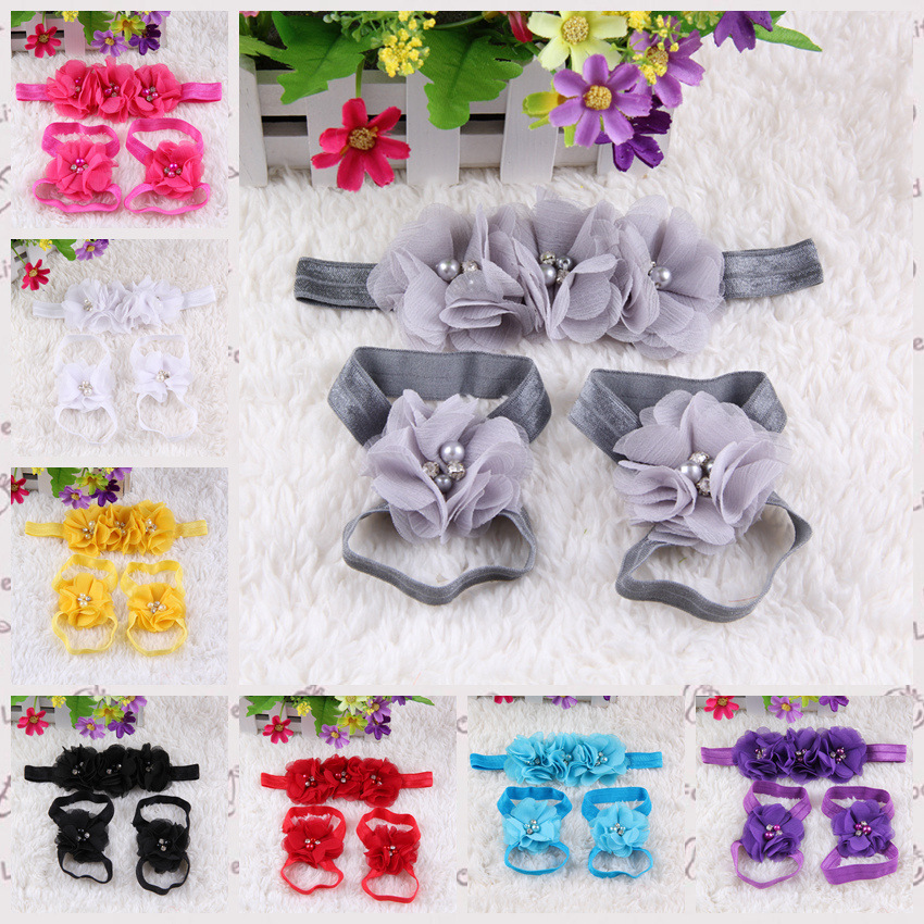 Cute Foot Pearl Flower Barefoot Sandals+Headband Baby Set Solid Color Baby Elastic Hair Bands Infant Kids HeadbandsJ069