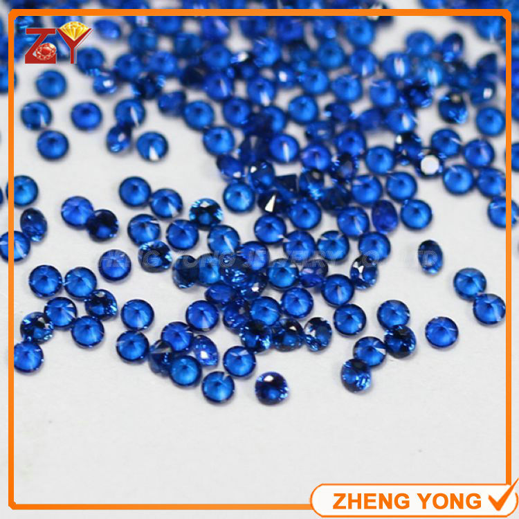 Free shipment 1000pcs 1.5mm round shape brilliant cut blue synthetic gems for jewelry making