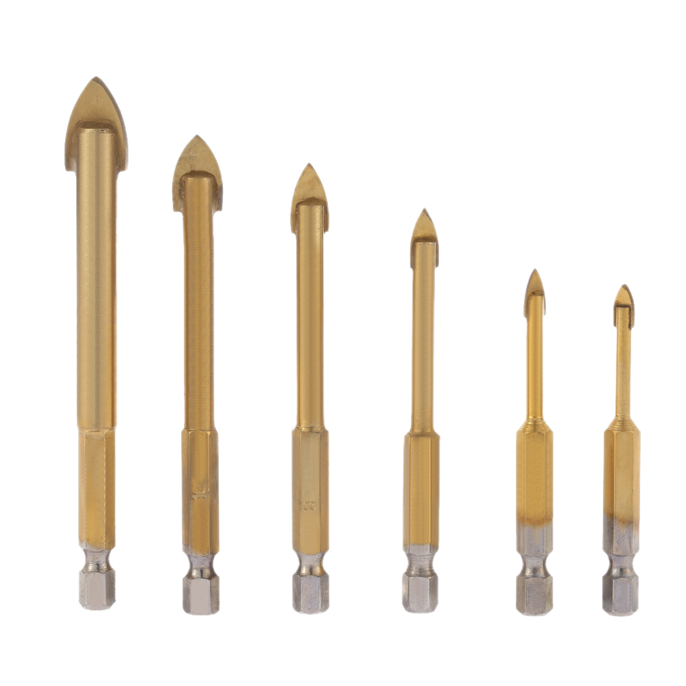 6pcsset Quality Drill Bits Carbide Alloy Titanium Plated Triangle Glass Drill Tungsten Steel Tile Drill power tools herramientas 4 pieces tungsten carbide glass drill bits for ceramic tile marble mirror 6mm 8mm 10mm 12mm