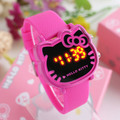 Hello Kitty niños reloj electrónico del LED cabeza de gato KT color melocotón virgen relojes mujer relojes de dibujos animados reloj digital del silicio
