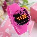 Olá Kitty crianças relógio eletrônico LEVOU cabeça KT gato pêssego cor virgem de pulso dos desenhos animados silicone digital relógios relojes mujer