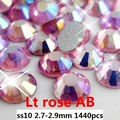 Light Rose AB No Hotfix Rhinestones Cristalinos de Flatback 1440 unids ss10 2.7-2.9mm Pegamento de Cristal Diamantes DIY Scrapbooking Decoración