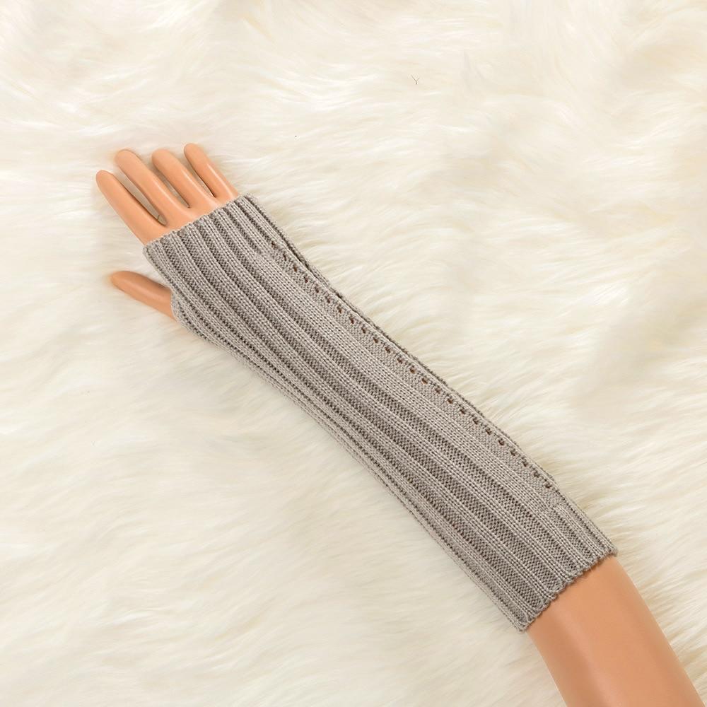 1 Pair Solid Color Woman Knitted Mitten Sleeve Hand Mitten Fingerless Gloves Keep Warm Autumn Winter Hollow Twist Long Gloves