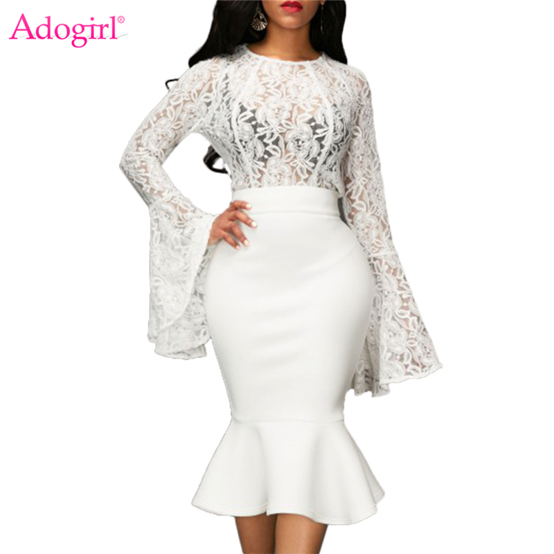 Adogirl <font><b>2017</b></font> New Lace Flare Long Sleeve Two Piece Dress Set <font><b>Sexy</b></font> Bodyon Midi Mermaid Dresses <font><b>High</b></font> Quality Cheap Women Party Gown image