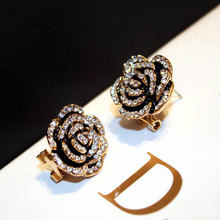 Famous Luxury Brand Designers Jewelry Camellia Flower Earring Fashion Stud For Women