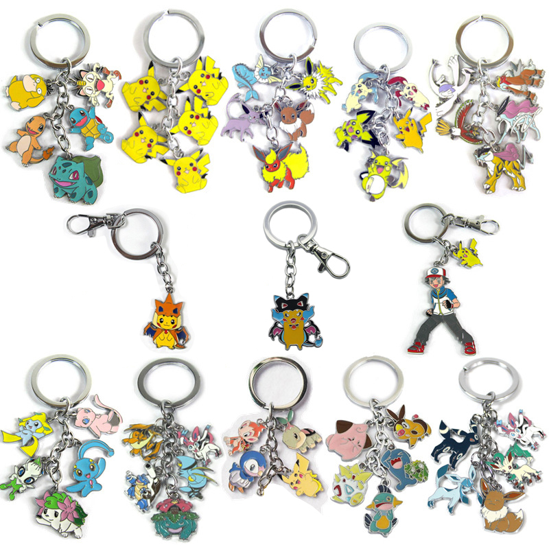 New cartoon action figure toys Mini Cute Cartoon Pikachu Bulbasaur Eevee Mega Charizard Keychain Keyring Pendant Collect Gift cute cartoon human figure pendant necklace white red