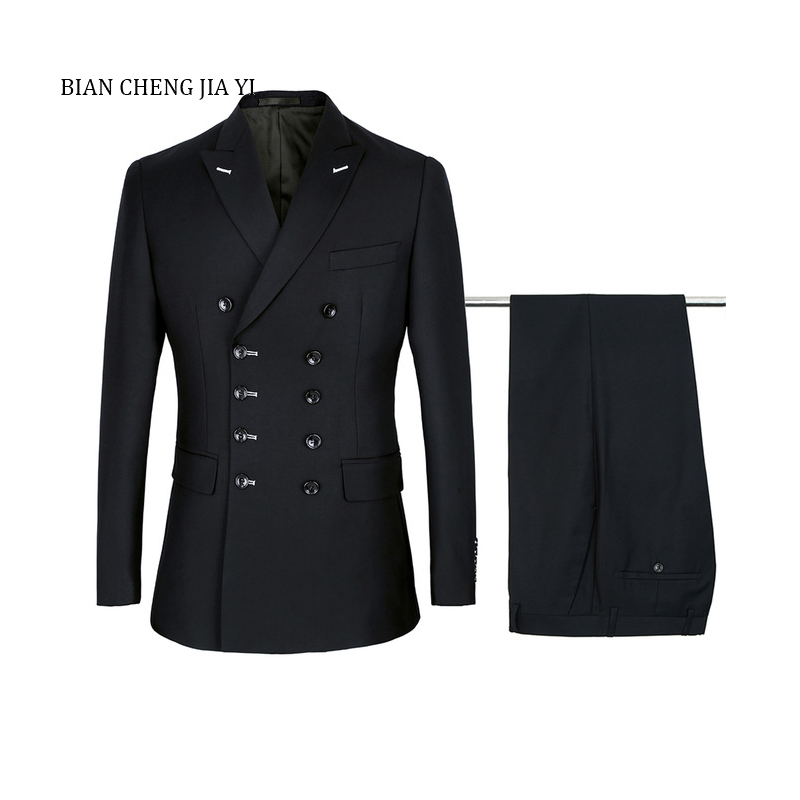 2020 Black Double Breasted Suits Mens Wedding Suits Fashion Suits Sets 2 Pieces Men Terno Costume Homme Mariage Slim Fit