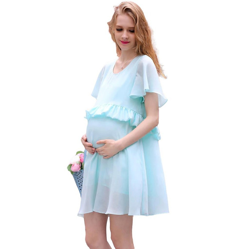 Մայրության զգեստ Պատահական բամբակյա ամառային զգեստ Մայրության զգեստ Plus Չափ պաչուեր շիֆոն Հղիության զգեստ Vestido Amarelo