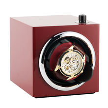 AU/EU/US/UK Plug Rectangle Mute Automatic Watch Winder Red Clock Luxury Wooden Storage Case zegarek motor