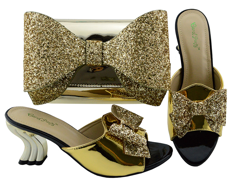 Big size 38-43 italian design shoes and bag matching set gold color low heel 86ad38d2cff8