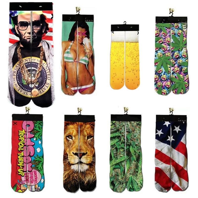 3d Harajuku Ankle Unisex   Sock   Funny Print Jordan/Lion/Tiger/Beer/President/Leaf Printed Men/Women Cotton Warm   Socks   Dropshipping