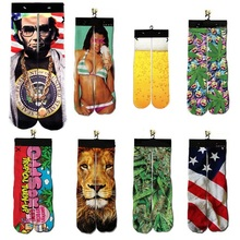 3d Harajuku Ankle Unisex Sock Funny Print Jordan/Lion/Tiger/Beer/President/Leaf Printed Men/Women Cotton Warm Socks Dropshipping