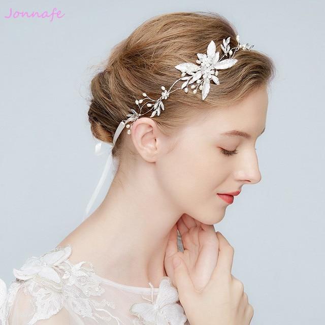 2ba459258631ff Jonnafe Silber Blatt Haar Schmuck Für Frauen Perlen Hochzeit Haar Reben  Zubehör Handgefertigten Braut Stirnband Kopfschmuck