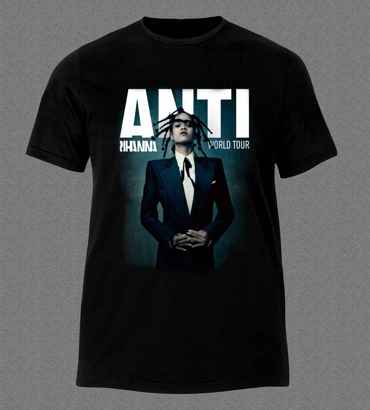 955b8a3d6 RIHANNA ANTI MUSIC POP R&B REGGAE DANCE HALL SINGER WORLD TOUR T-Shirt T-