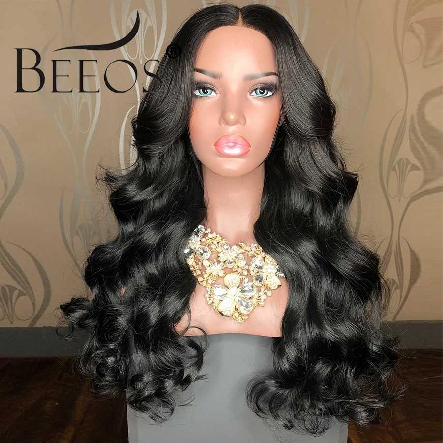Beeos 13x6 глубокая часть 250 Плотность фронта шнурка человеческих волос парики предварительно сорванные с волосами младенца Remy Черный для женщин свободная волна тела