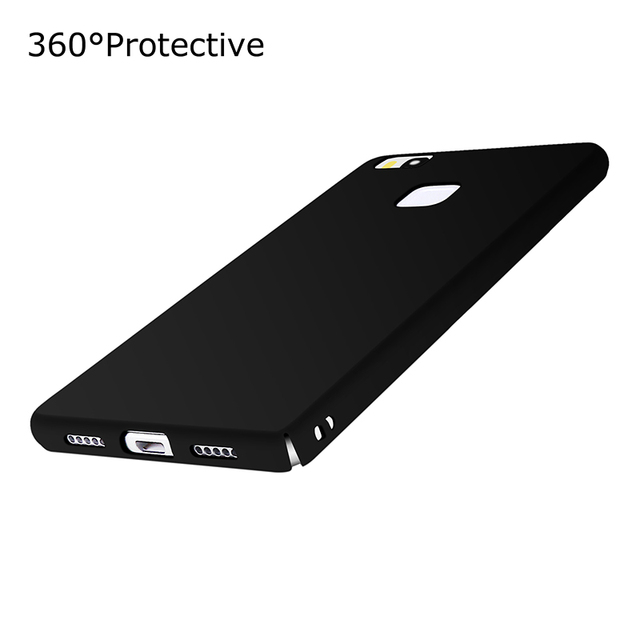 huawei p9 lite black. phone case for cover huawei p9 lite 360 degree protective matte plastic back black
