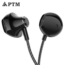 Купить с кэшбэком PTM D31 Bass Earphone 3.5mm Wired Sport Headphones with Microphone Headset for Apple Iphone Xiaomi Samsung Ear Phones MP3 Mp4