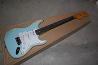 Free Shipping New Arrival Custom Guitar F SSS Distressed Stratocaster blue 6 Strings natural Wood Electric Guitar