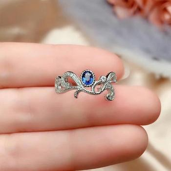 shilovem 925 silver sterling real Natural sapphire rings party fine Jewelry women party plant trendy gift new 3*4mm cj0304666agl