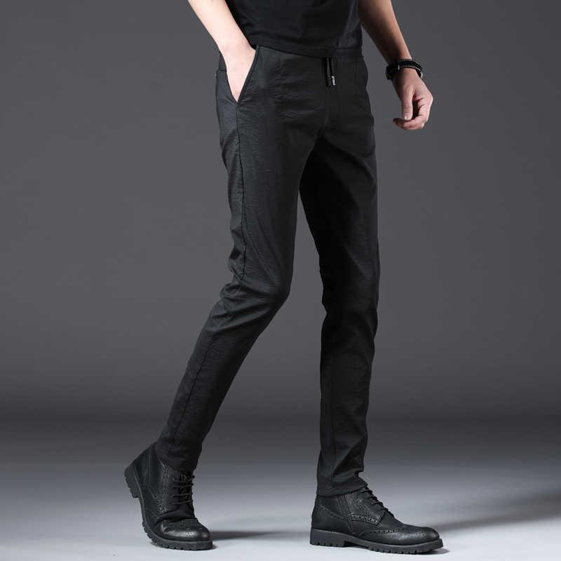 Jantour 2019 nuevos pantalones ajustados elásticos hombres fiesta Oficina Formal hombres traje lápiz pantalones negocios Slim Fit Casual Hombre Pantalones
