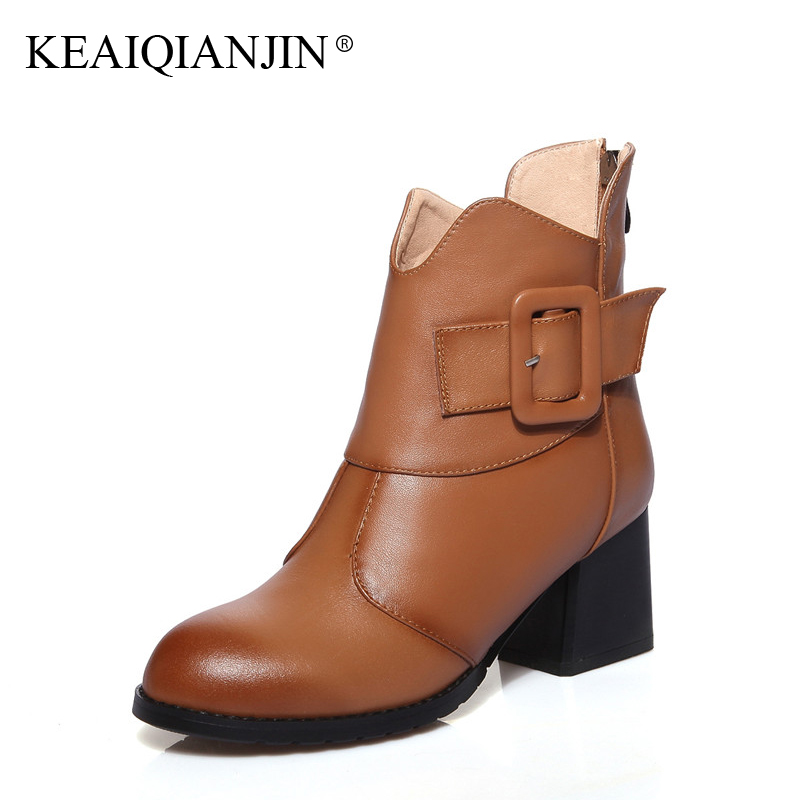 KEAIQIANJIN Woman Genuine Leather Ankle Boots Buckle Autumn Winter Bottine Plus Size 33 - 44 Shoes Black Brown High Heels Boots tacs часы tacs ts1003a коллекция soap
