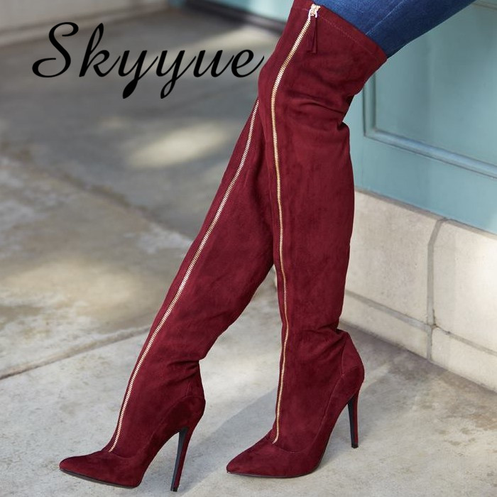 SKYYUE New Sexy Gladiator Over The Knee HIgh Thigh HIgh Boots Pointed Toe Zip Women Winter Boots Shoes Women hot boots women sexy black thigh high boots peep toe soft leather back zip high heels over the knee boots gladiator sandal boots