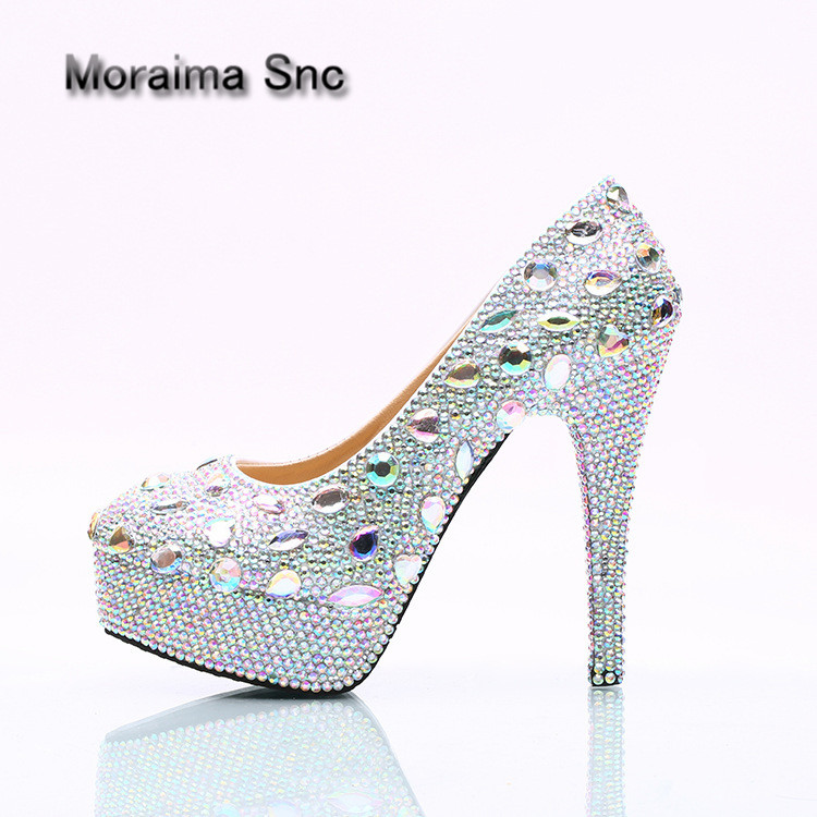 Moraima Snc brand Crystal shoes sexy platform high heels shoes women 2018 newest wedding bride pumps bling bling Nightclub shoes apoepo handmade wedding bride shoes bling bling crystal pregnant shoes 3 5 cm increased internal low heels shoes mary janes shoe