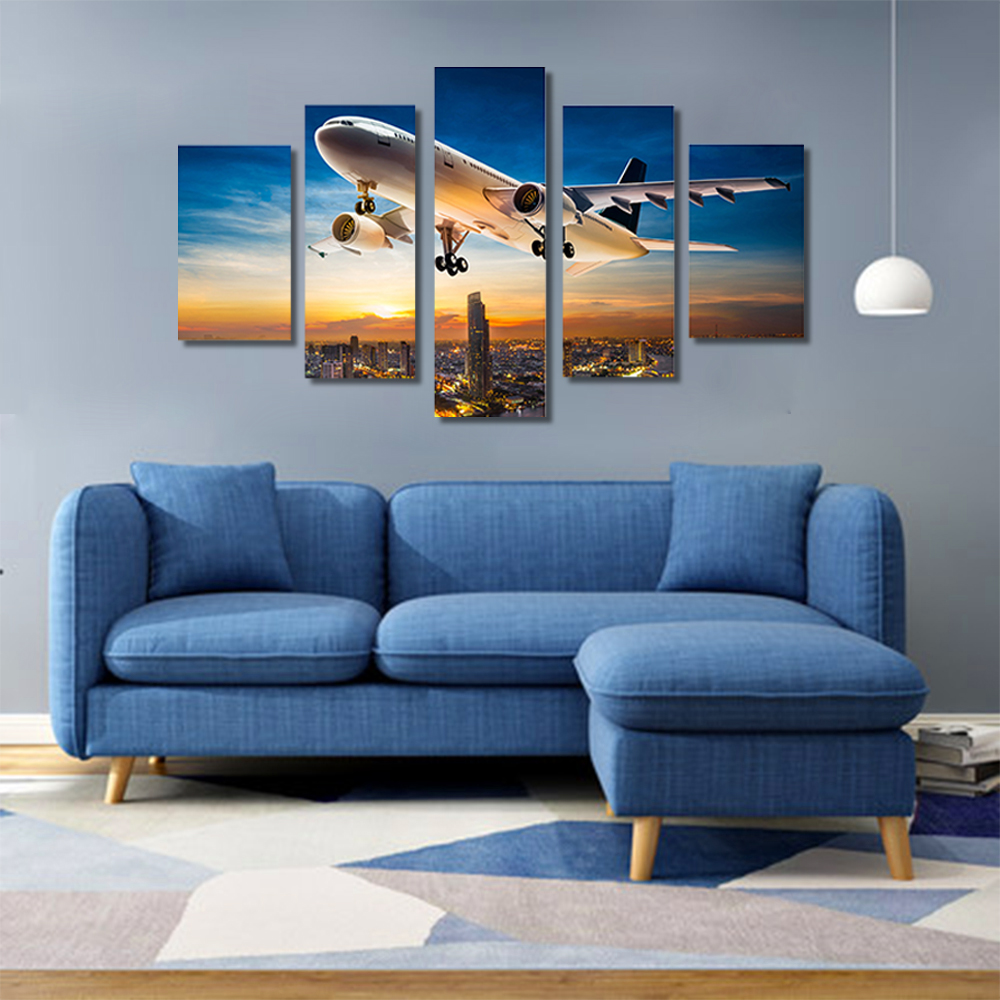 Unframed HD Canvas Prints Blue Sky Airliner Skyscrapers Modular Picture Prints Wall Picture For Living Room Wall Art Decoration